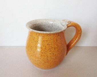 Speckled Orange Pottery Mug - Ceramic Coffee Cup - 16 oz - Ready to Ship