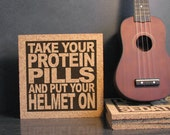 DAVID BOWIE - Space Oddity - Take Your Protein Pills And Put Your Helmet On - Quote Wall Art / Hot Pad Trivet - Kitchen Decor / Office Decor