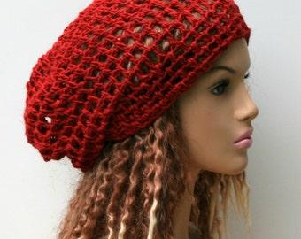 Summer beanie, Chili Red Hemp Wool Snood Hippie Dreadlock Tam Hat Handmade Tam, slouchy hat