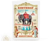 Elephant, birthday card, circus, anthropomorphic, bear, lion, red, vintage style, circus tent, clown, kids birthday card, boys birthday card