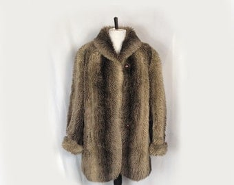 Vintage Women's Faux Fur Coat, 70's, Brown, Short, Jacket, Car Coat, Winter Coat, Rolled Cuffs, Small/Medium
