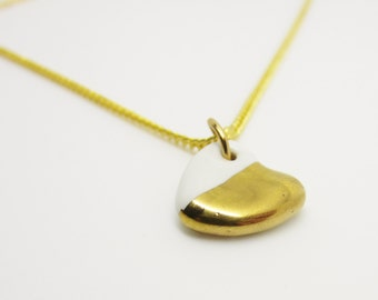 Metallic Gold Half Dipped Heart Necklace Glazed Ceramic Porcelain on an 18 inch Gold Chain