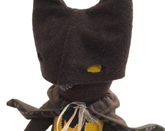 Batman Plush Cat / Soft Doll / Stuffed Animal / Bruce the Cat / Art Doll / Toy / Handmade Softie