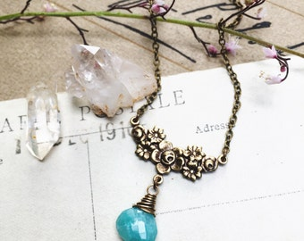 F l o r a...Amazonite necklace, brass flowers connector, boho, Heart chakra, layering necklace Etsy Gifts for Her FREE SHIPPING