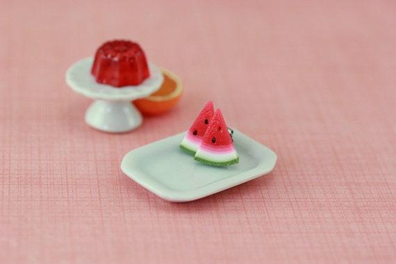 Watermelon Wedge Studs / Post Earrings