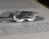 Bat Hand Cut Small Sterling Silver Stud Earrings