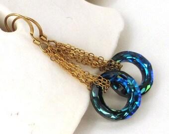 Bermuda Blue Crystal Earring,  Long Gold Earring, Swarovski Crystal Cosmic Ring Earring, Crystal Circle Earring, Gold Crystal Dangle, Shelly
