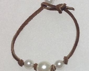 Pearls on Suede cord bracelet