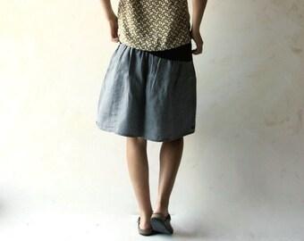 Linen skirt, short skirt, Gathered skirt, Summer clothing, Festival clothing, Hippie skirt, Boho skirt, Knee length skirt, plus size skirt,