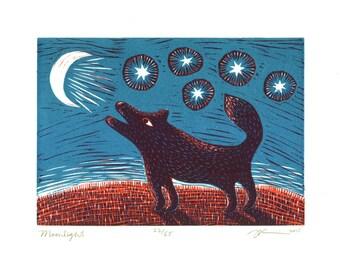 "8 x 10 Linocut Print ""Moonlight"" // dog art / dog print / animal art / howling wolf / crescent moon / stars / animal lover gift / night sky"