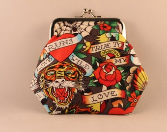 Tattoo Ed Hardy Black Clasp Kisslock Change Coin Purse