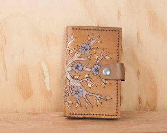 Leather iPhone 6 Case Wallet - Tree/Flower Winter Pattern in white, blue and antique brown- Handmade for iPhone 5, 6, 6+, SE, 7 or 7+
