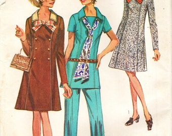 Simplicity 9039 Size 48, Bust 52 Dress or Tunic & Pants © 1970