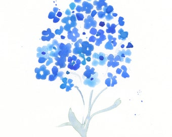 """Watercolor flowers, art print of forget-me-nots: """"Forget-Me-Not"""""""