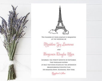 Eiffel Tower Wedding Invitation - Parisian Wedding - Paris Wedding Invitations