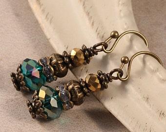 Vintage Victorian Brass Earrings, Teal Blue Gold Glass, Crystal Rhinestone, Antique Decorative, Chunky Drop Earrings EELI