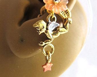 Angel Ear Cuff - Guardian Angel Earrings - Angel Earrings Gold - Angel Jewelry - Angel Clip On Earcuff - Angel Ear Wrap - Angel Cuff Earring