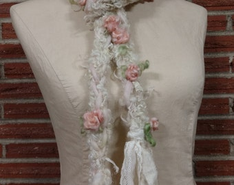 Handspun Art Yarn Lariat Scarf with Roses and Lace Romantic Shabby pink cream