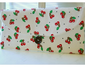 Mary Engelbreit Rare Red Cherries Cluch Kitschy White bag cherry Clutch ME Clutch purse Clutch, Gift, Travel Tossed Cherry Clutch Makeup Bag