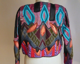 Vintage Quilted Mardi Gras Jacket BOLD and GORGEOUS Judith ROBERTS Colorful Embroidered Cropped Long Sleeves