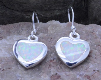 Handcrafted High-quality Heart Fire Opal Inlay drops sterling silver 925 earrings