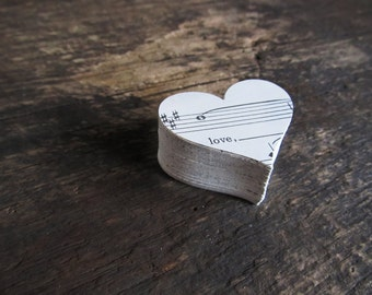 150 Paper Die Cut Hearts From Vintage Sheet Music