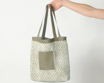 Velvet tote bag with leather details, Taupe and blue tote bag, in raised velvet and beige leather