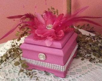 UPCYCLED Shabby Chic Parisian Pink Wood MUSIC BOX 'Raindrops Keep Falling On My Head'