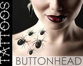 Spider Temporary Tattoo - Halloween Costume Fake Tattoo - Creepy Disturbing Sexy - Makeup Accessories