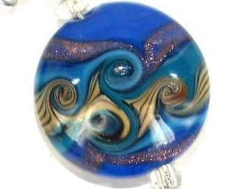 Blue 21mm button lampwork beads , lampwork glass beads SRA Lampwork Beads glass beads, Jewelry Supply, Unique Beads for Crafts, beads, glass