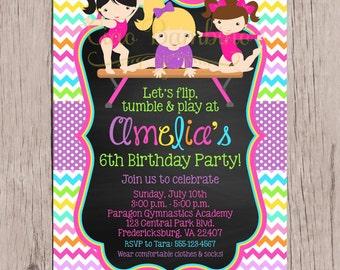 PRINTABLE Gymnastics Birthday Party Invitation / Tumbling Party Invitation / Rainbow Chevron / Chalkboard / You Print