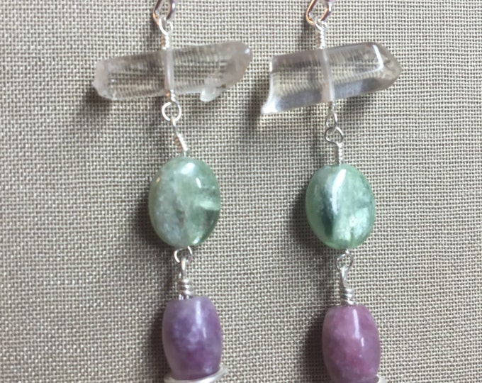 Phantom Quartz, Green Kyanite, and Lepidolite Earrings with Sterling Silver and Bali Silver Accents