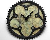 Seattle Bicycle Clock      Map Clock    Seattle City Map Clock   Bike Gear Clock