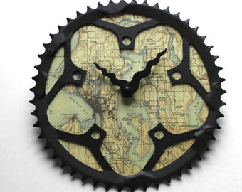 Seattle Bicycle Clock  |   Map Clock  | Seattle City Map Clock | Bike Gear Clock