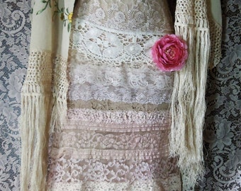 Valentines Sale Boho wedding dress  nude floral fringe lace embroidery  silk  wedding  vintage  bride outdoor  romantic small by vintage o
