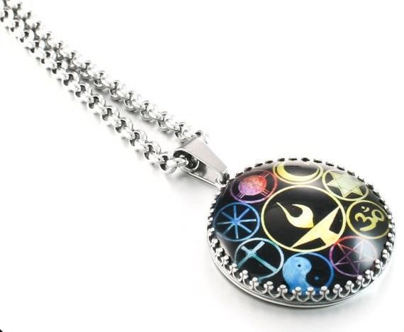 UU Jewelry, UU Pendant, World Religion Pendant, Chalice UU Necklace, Spiritual Jewelry, Diversity Jewelry