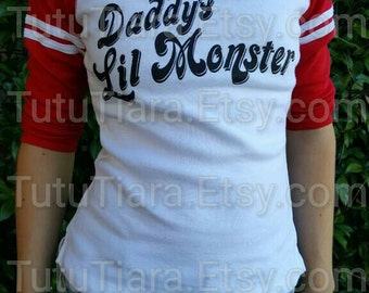 SALE Harley Quinn Shirt, Suicide Squad Daddy's Lil Monster JUNIORS Red Sleeve Shirt Cosplay Costume