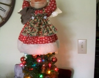 Primitive cute snowlady angel snowman tree topper in red and green crafted by yellowsweetpotato