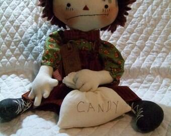 Primitive Bad attitude Trick or Treat  Raggedy boy doll by yellowsweetpotato