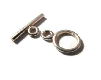 Small Toggle Clasp, Sterling Silver Tiny 8mm Clasp, Jewelry Supplies, .925 Sterling Silver Findings (6225S/S)