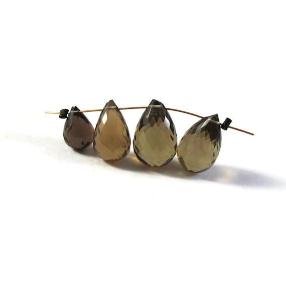 4 Olive Quartz Beads, Four Olive Quartz Gemstone Briolettes, Large Top Drilled Natural Gemstone for Jewelry Making 10mm - 15mm (B-Oq1c)