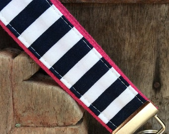 READY TO SHIP-Beautiful Key Fob/Keychain/Wristlet-White and Navy Stripes on hot pink
