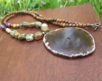Statement Agate Geode Statement Necklace - Earthy Shades - Brown Purple Green - Bohemian Style - Hippie Gypsy Beaded Womens - One of a Kind