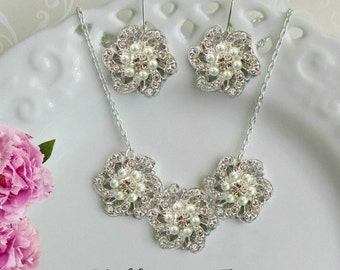 Bridesmaids Jewelry set, Necklace earring set, Bridesmaids Necklace, Matching Earrings, dangle earrings, matching necklace, Post Earrings