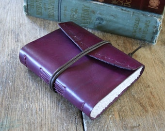 "Leather Journal . Jane Austen ""Pride and Prejudice"" quote . rich purple/cherry hand-dyed & embossed leather . handmade handbound (320pgs)"