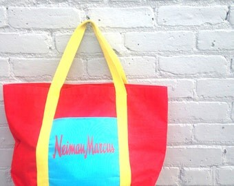 NEIMAN MARCUS tote bag // primary colors // oversized large // canvas // 1990s 90s // red interior // blue yellow // pocket zipper