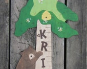 Wood Growth Chart FOREST BEARS - Hand Painted Keepsake