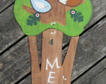 WOODLAND TREE Wood Growth Chart - Original Hand Painted Wood Keepsake