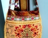 Yellow tapestry bag with fringe