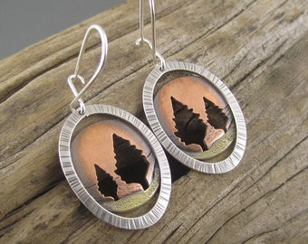 Handmade Red Autumn Conifer Mixed Metal Silver, Copper and Brass Earrings